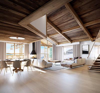 Perspective 3D d'un salon dans un chalet moderne