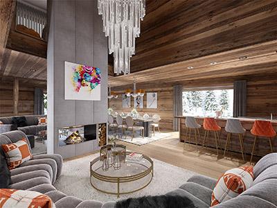 Image 3D d'un salon de luxe dans un chalet de montagne