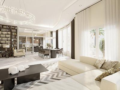 Salon luxueux et moderne réalisé par des infographistes 3D