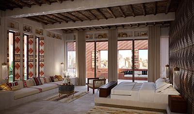 Création 3D d'un salon marocain luxueux dans une villa