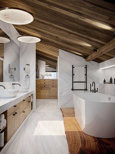 Image de synthèse 3D d'une salle de bain en marbre dans un chalet