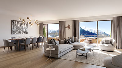 Représentation 3D d'un salon moderne à la montagne