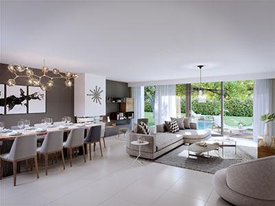 Rendu 3D du séjour d'une villa moderne avec piscine