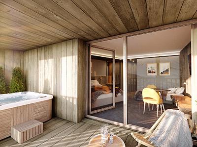 Visualisation 3D d'un appartement de chalet avec terrasse et spa