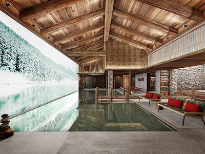 Rendu 3D d'une piscine intérieure dans un chalet Suisse