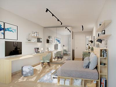Studio neuf et moderne réalisé en 3D