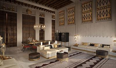 Salon oriental au Maroc réalisé en infographie 3D