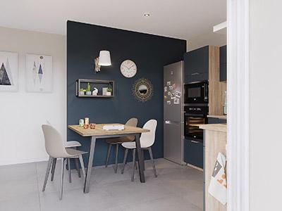 Perspective 3D d'une table à manger dans une cuisine ouverte