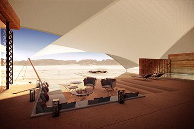 Infographie 3D d'un programme de tente luxe dans le désert du Maroc
