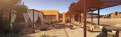 Image 3D des extérieurs d'un hôtel de luxe dans le désert