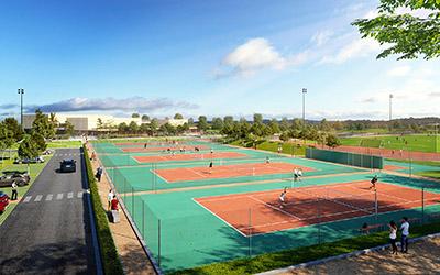Rendu 3D de terrains de tennis en extérieur, intégrés dans l'environnement