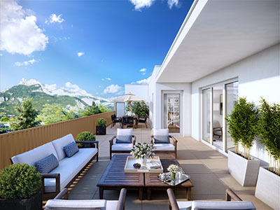 Vue 3D d'une terrasse moderne en montagne
