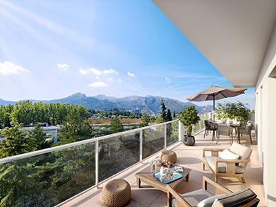 Visualisation 3D d'une terrasse d'appartement à la montagne