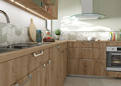 Représentation 3D des rangements d'une cuisine équipée