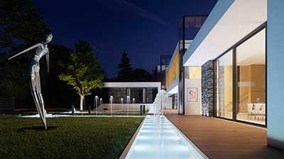 Image de synthèse pour un projet d'architecture 3D de l'entrée de nuit d'une villa de luxe.