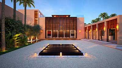 Perspective 3D d'un projet de villa au Maroc