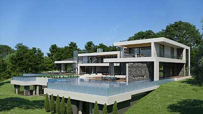 3D Perspective of a pool of a luxurious villa.