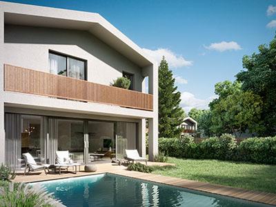 Maison luxueuse avec piscine réalisée en 3D