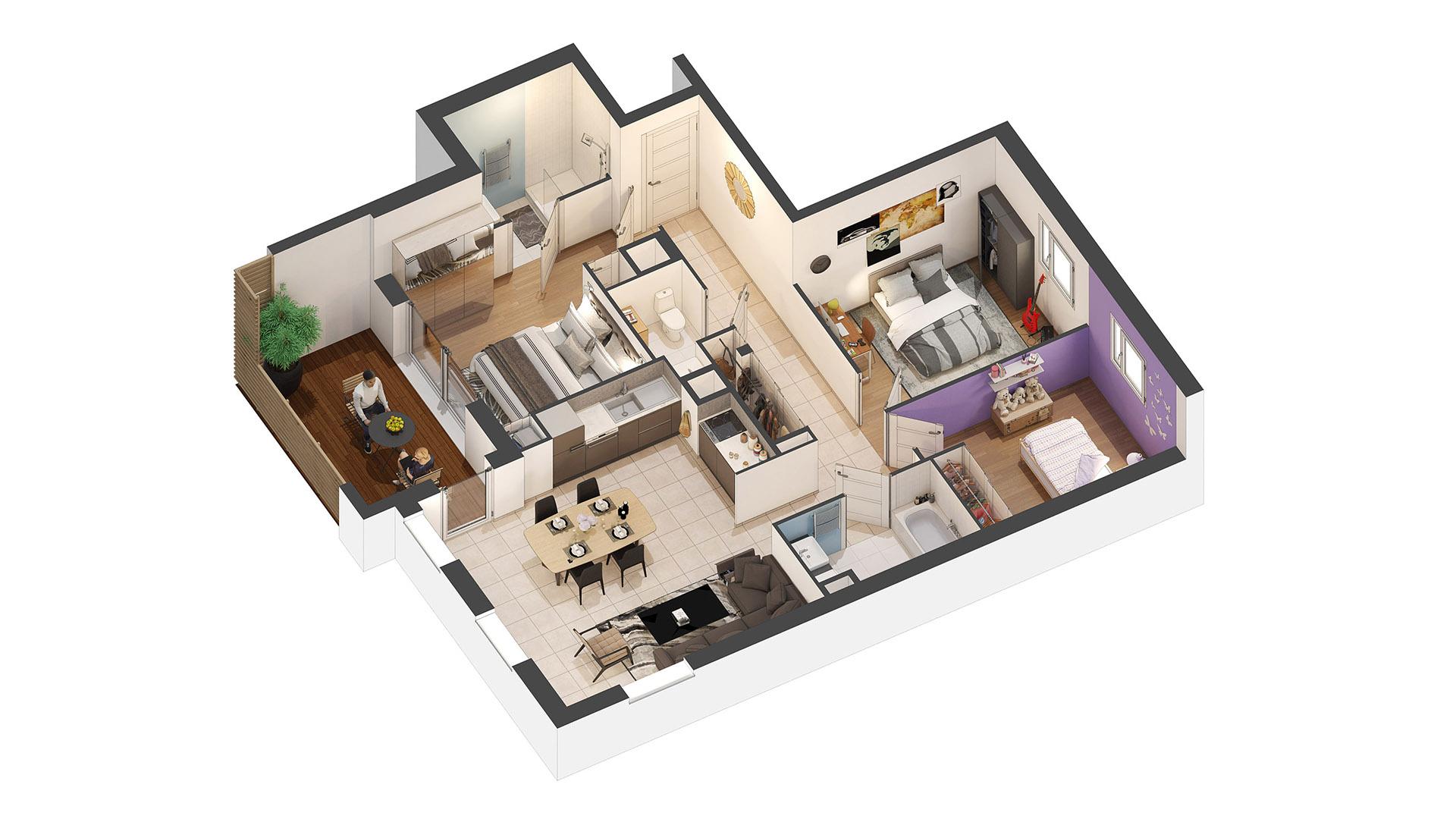 Plan d'appartement en 3D - Architecte 3D