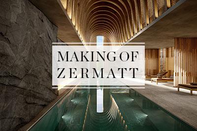 Image 3D d'une piscine luxueuse à l'intérieur d'un resort en Suisse
