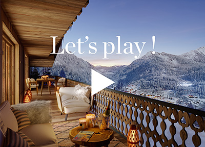 Balcon réalisé en 3D avec vue panoramique sur les montagnes