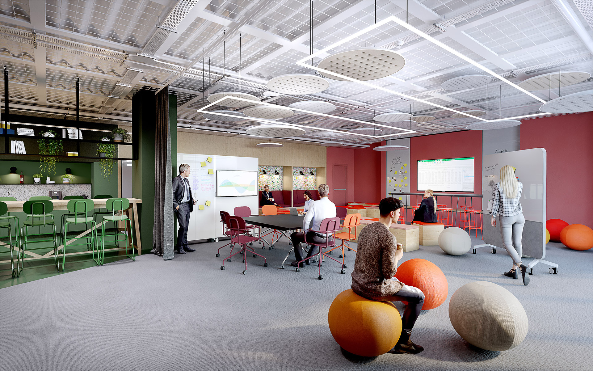 Photorealistic 3D rendering of the interior design of modern and original offices
