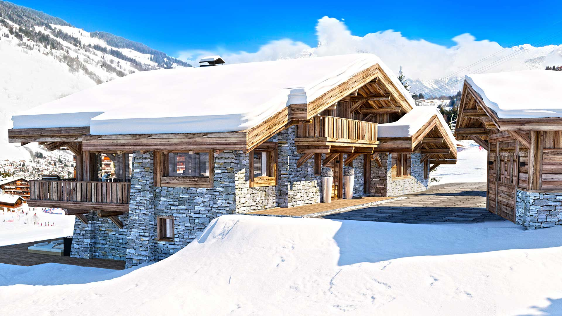 Creation of a 3D photo of a luxurious chalet in the mountains.