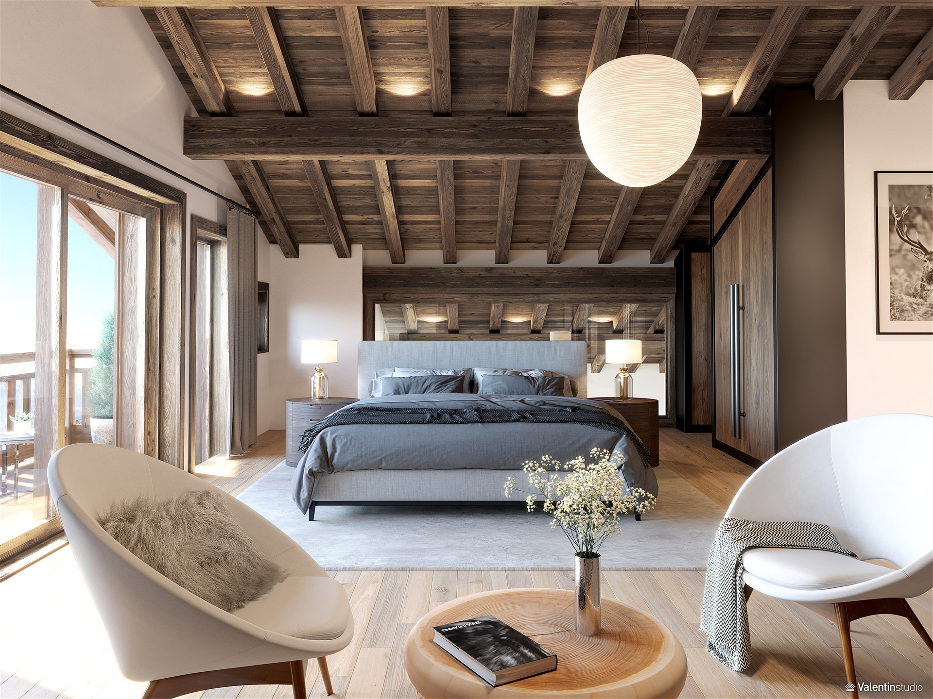 3D graphics of a modern chalet room with living area