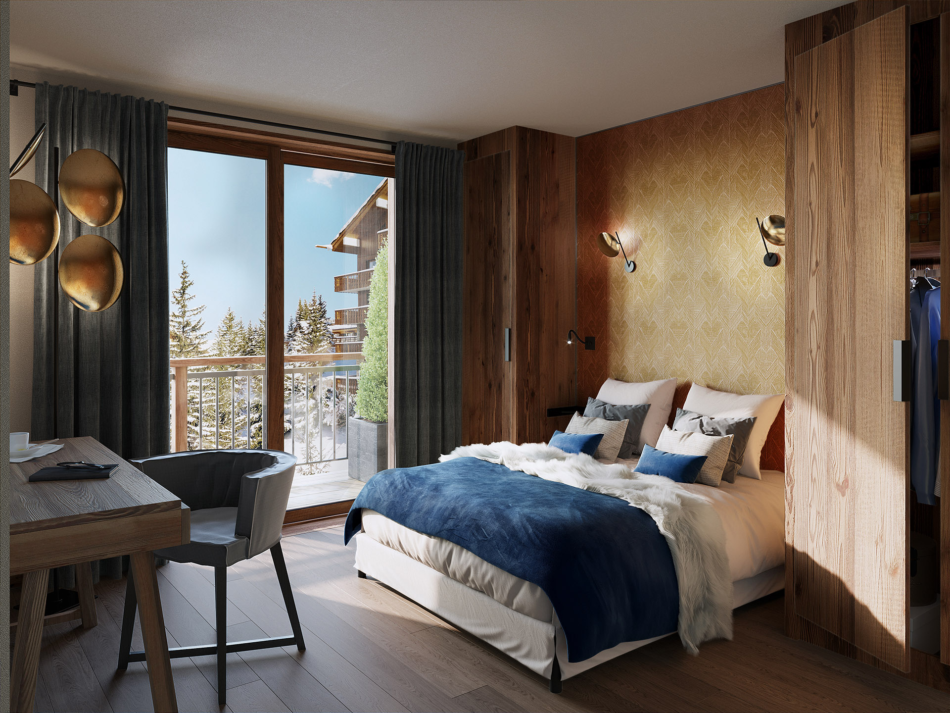 3D rendering of a room in a chalet in Chatel