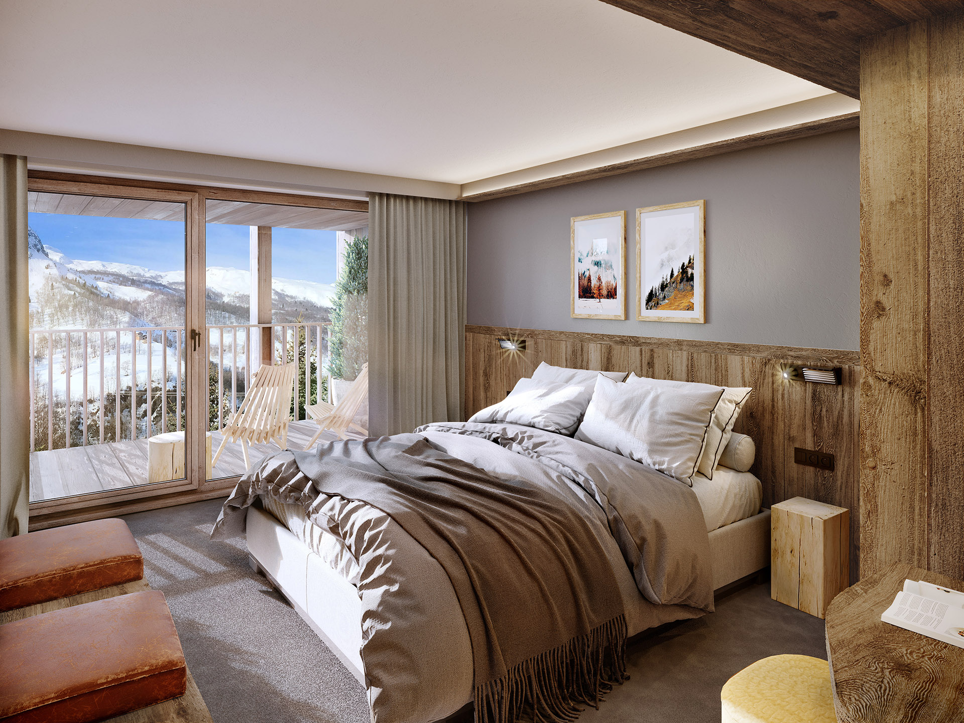 3D rendering of a room in a chalet in Chamonix