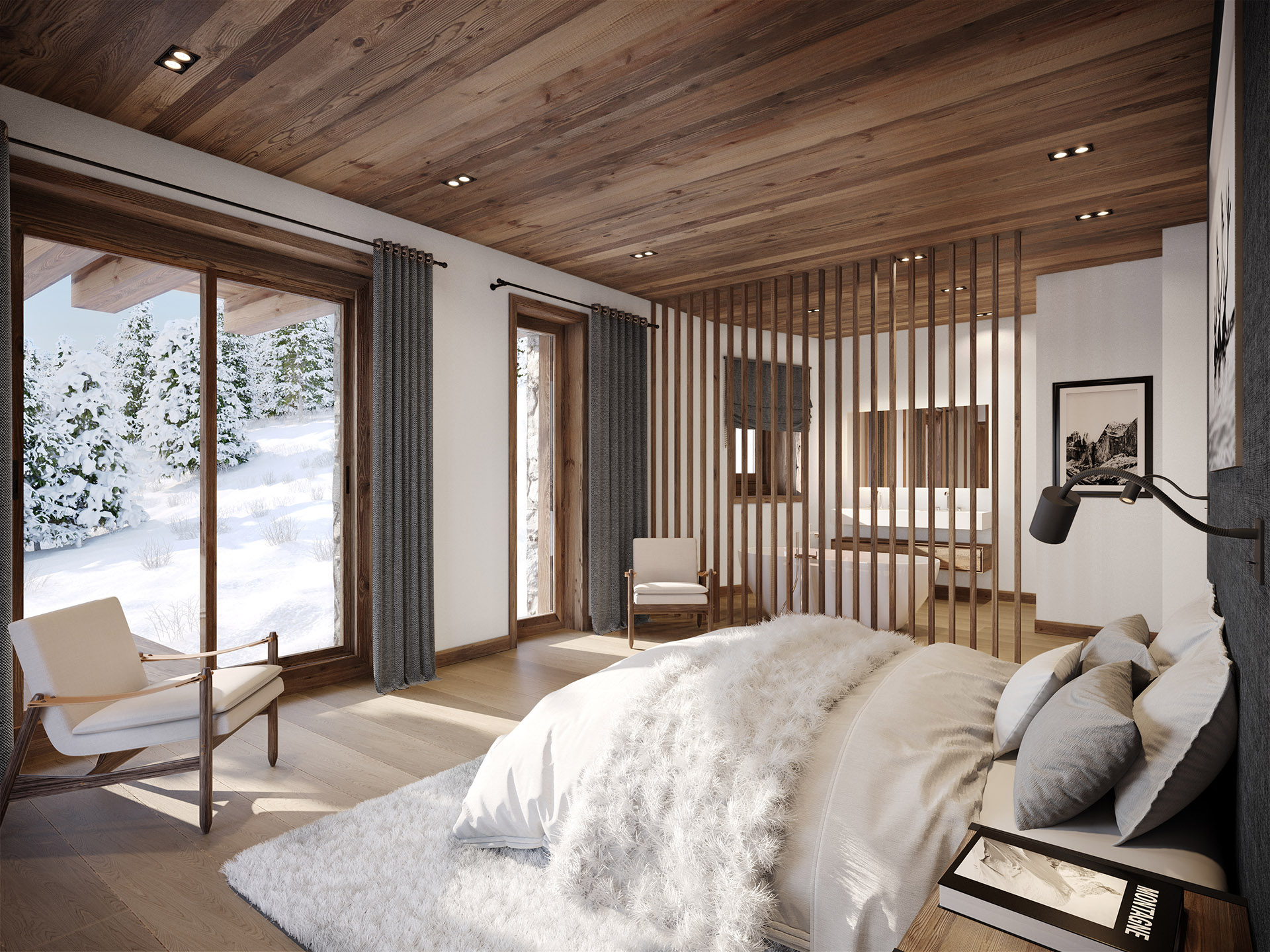 3D Archviz of a room in a mountain chalet
