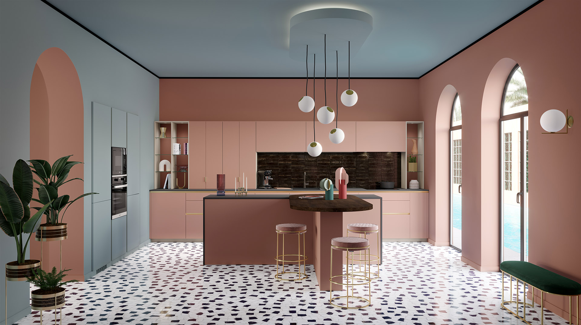 3D image of a modern pink and gray kitchen