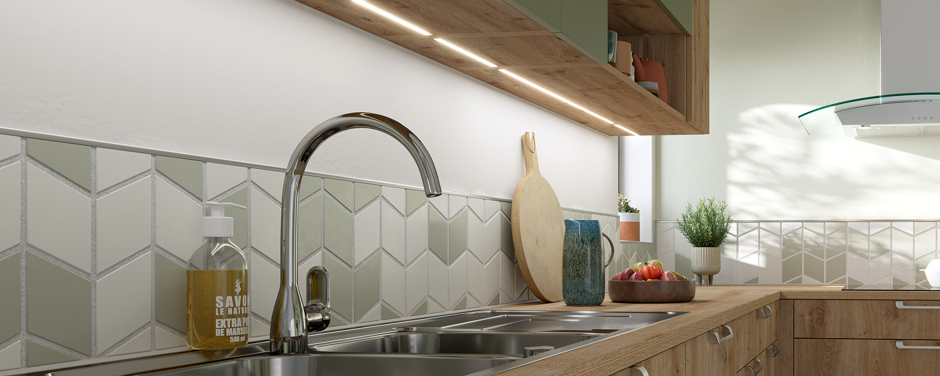 3D synthesis image of the sink area of a wood and green kitchen