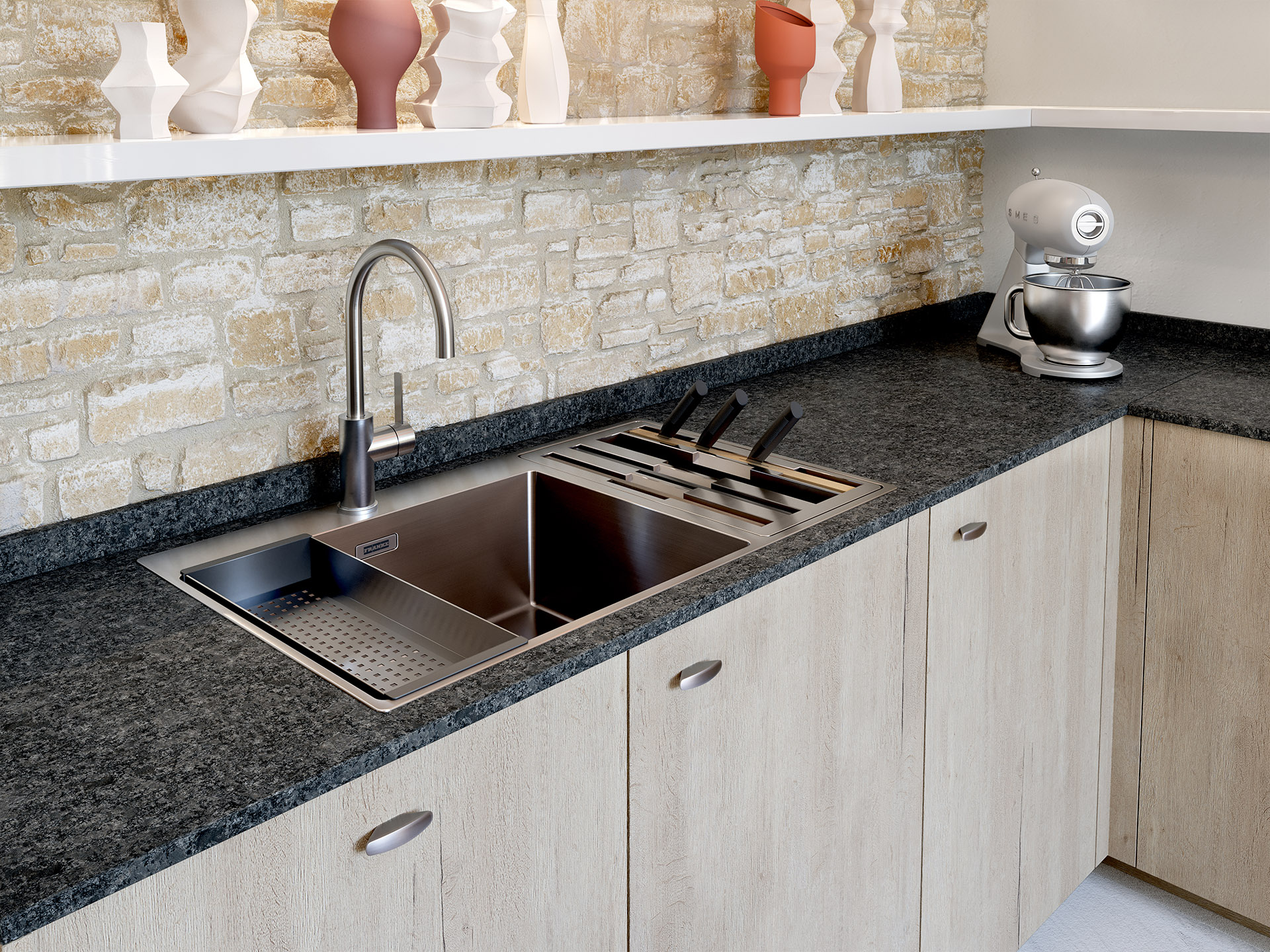 Modern and functional sink in a wooden kitchen made in 3D