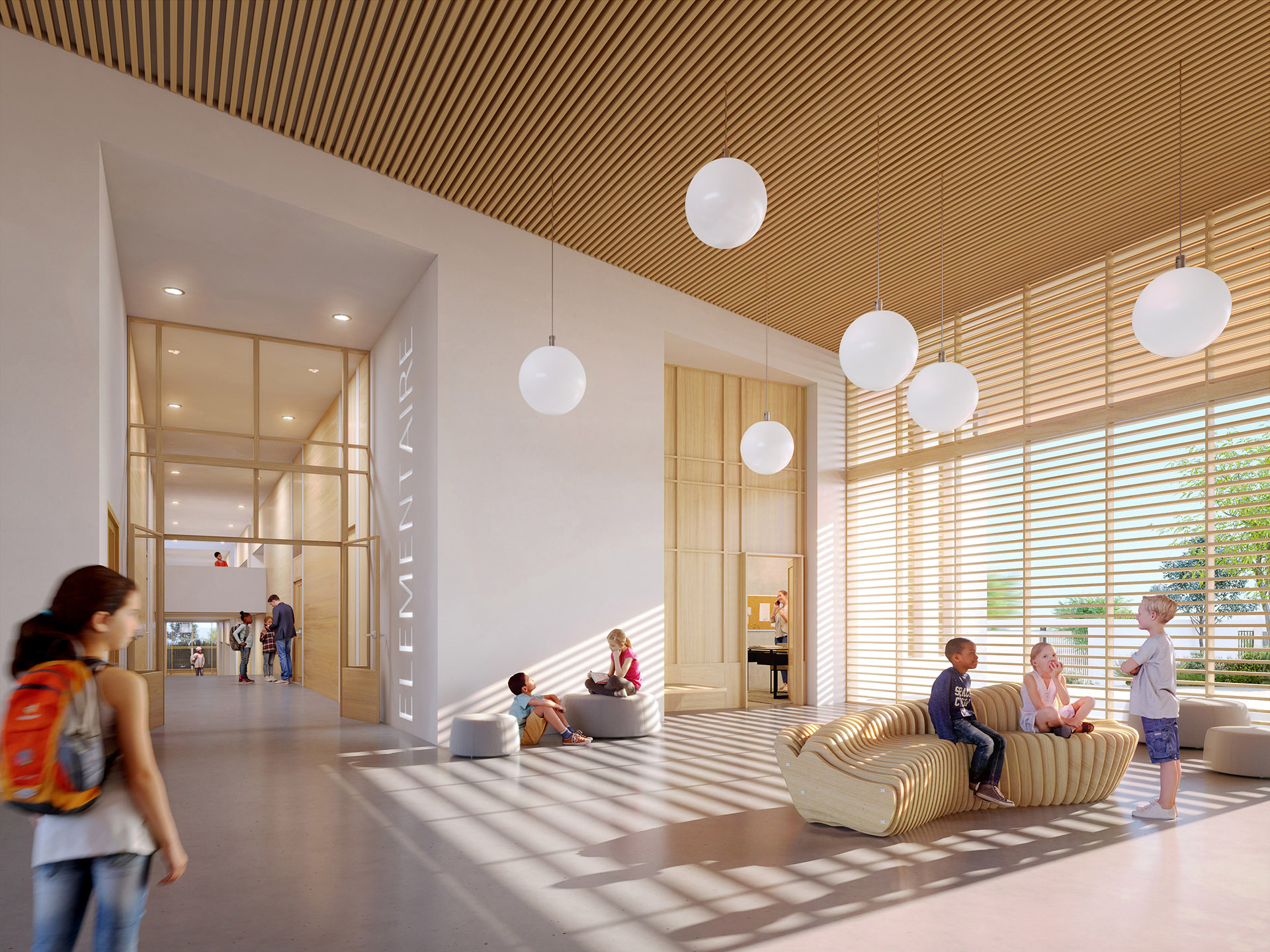 3D visualization of a modern school hall with children