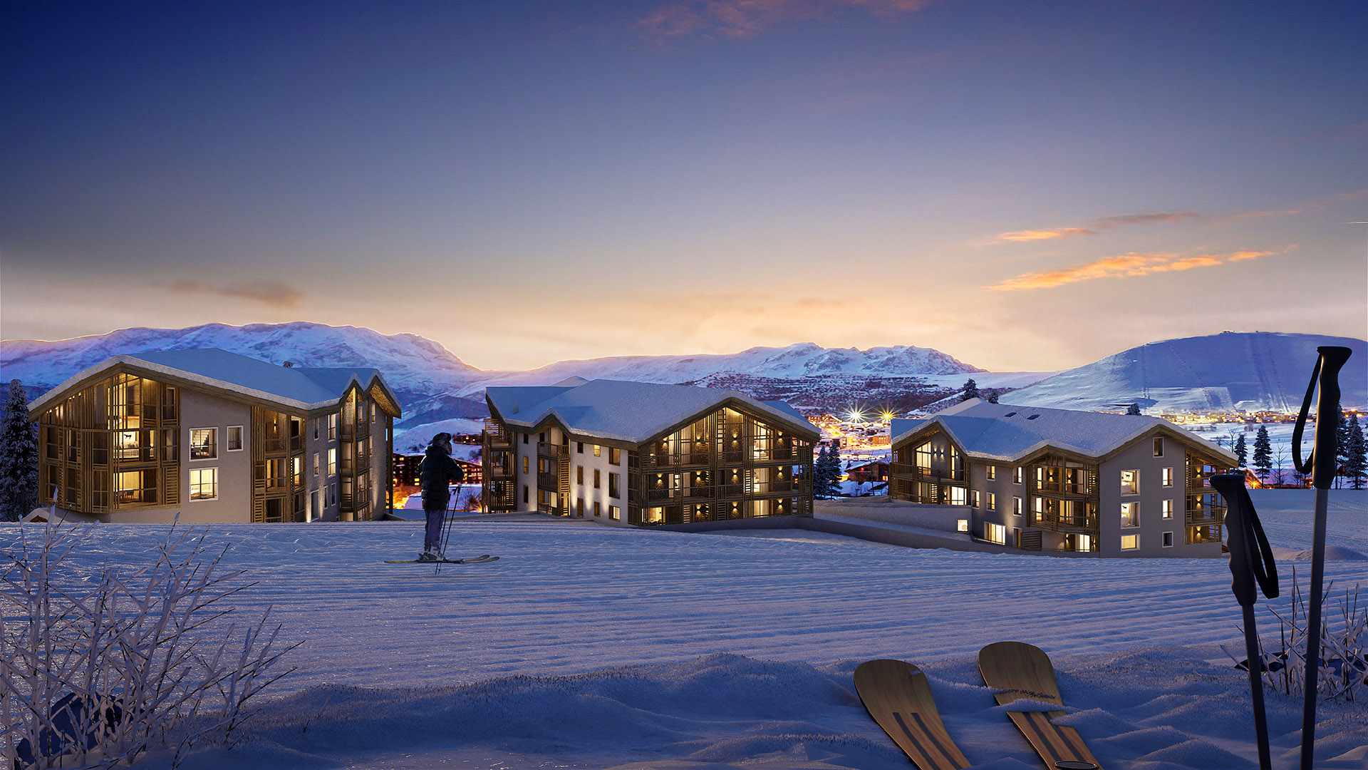 3D perspective and integration of mountain chalets in a valley in winter