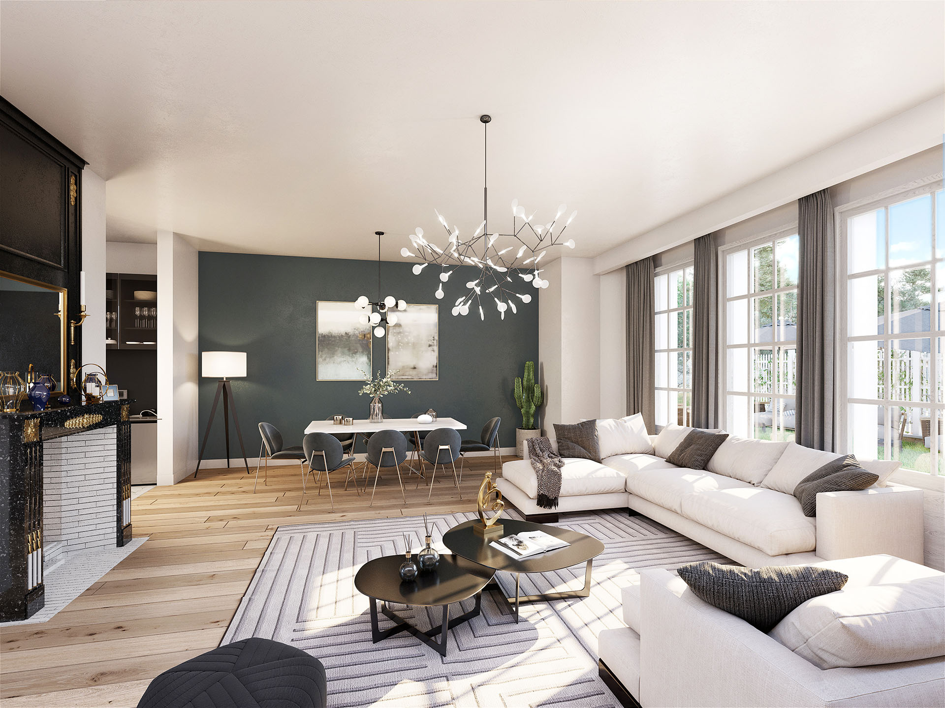 3D image of the interior of a new apartment