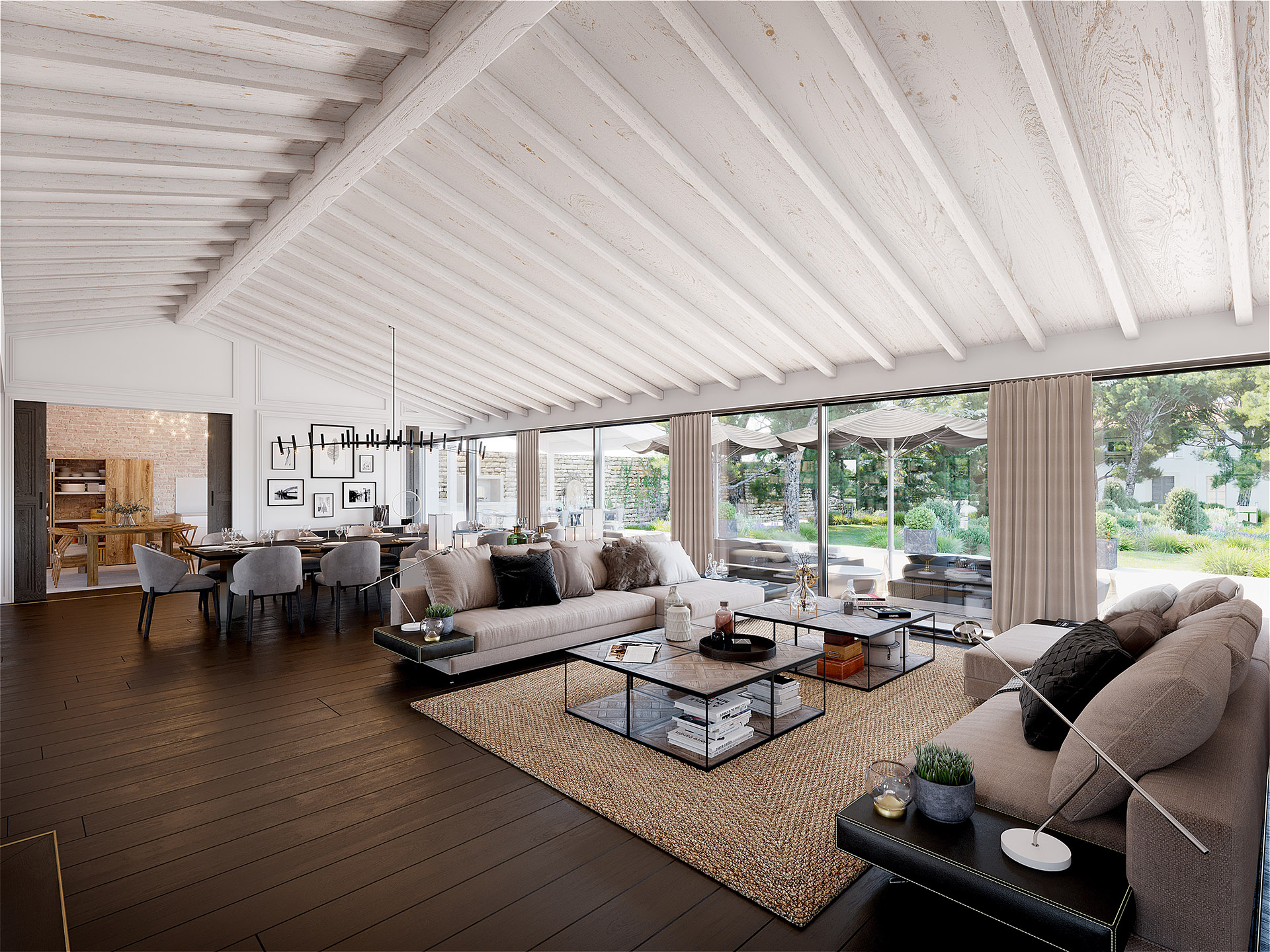 Modern and contemporary living room realized in 3D