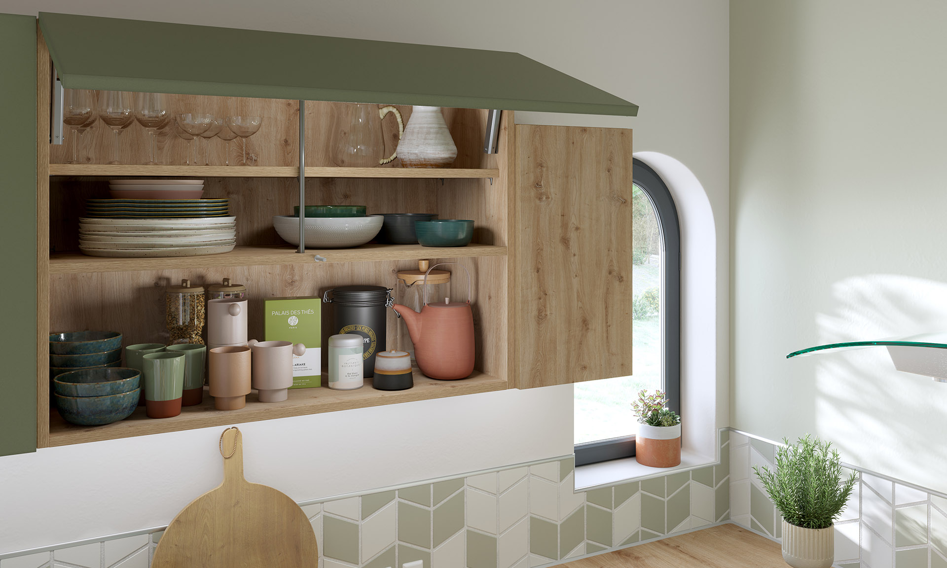 3D image of a cupboard and its dishes in a green and wood kitchen
