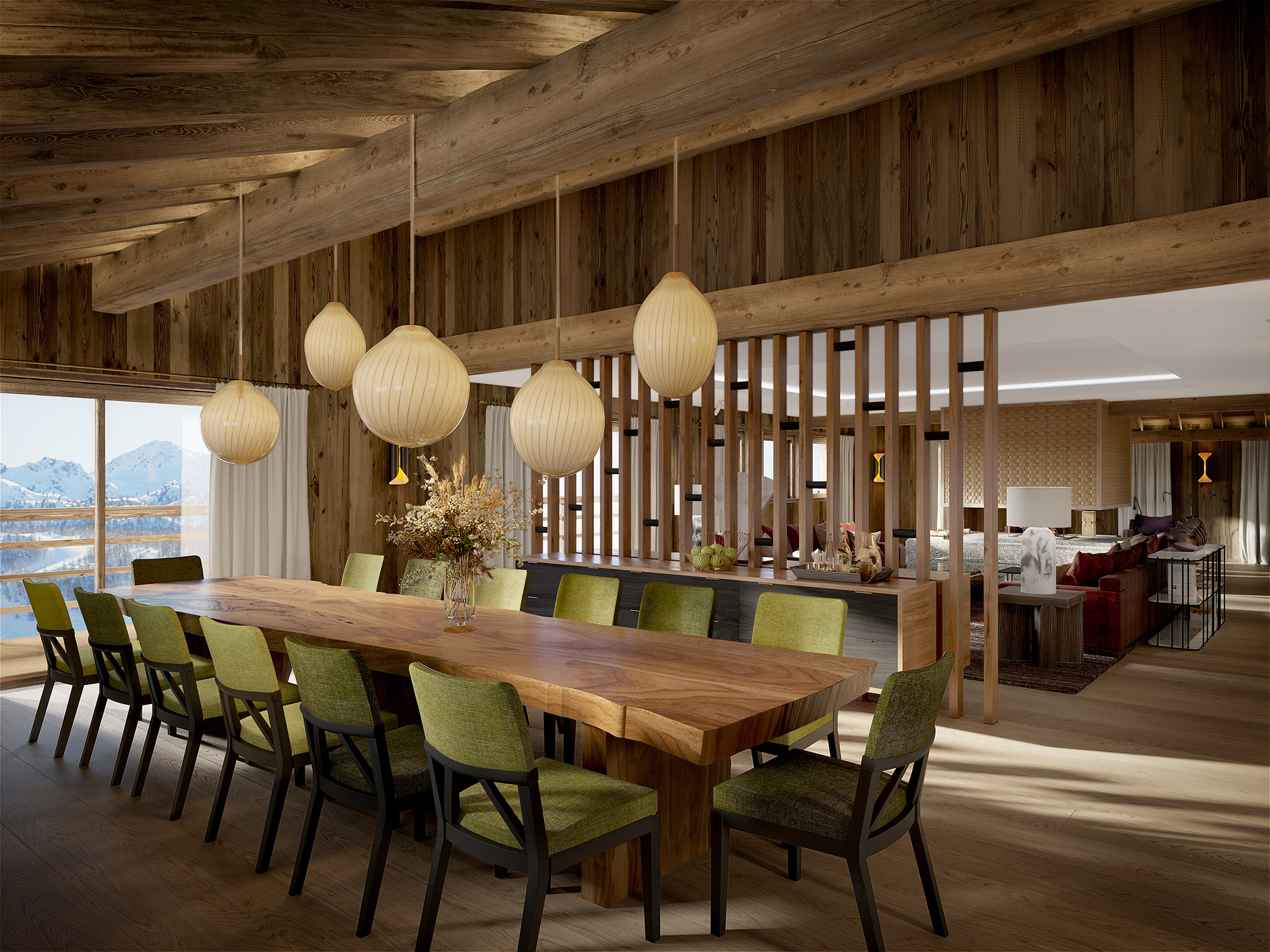 3D rendering of a modern dining room in a chalet