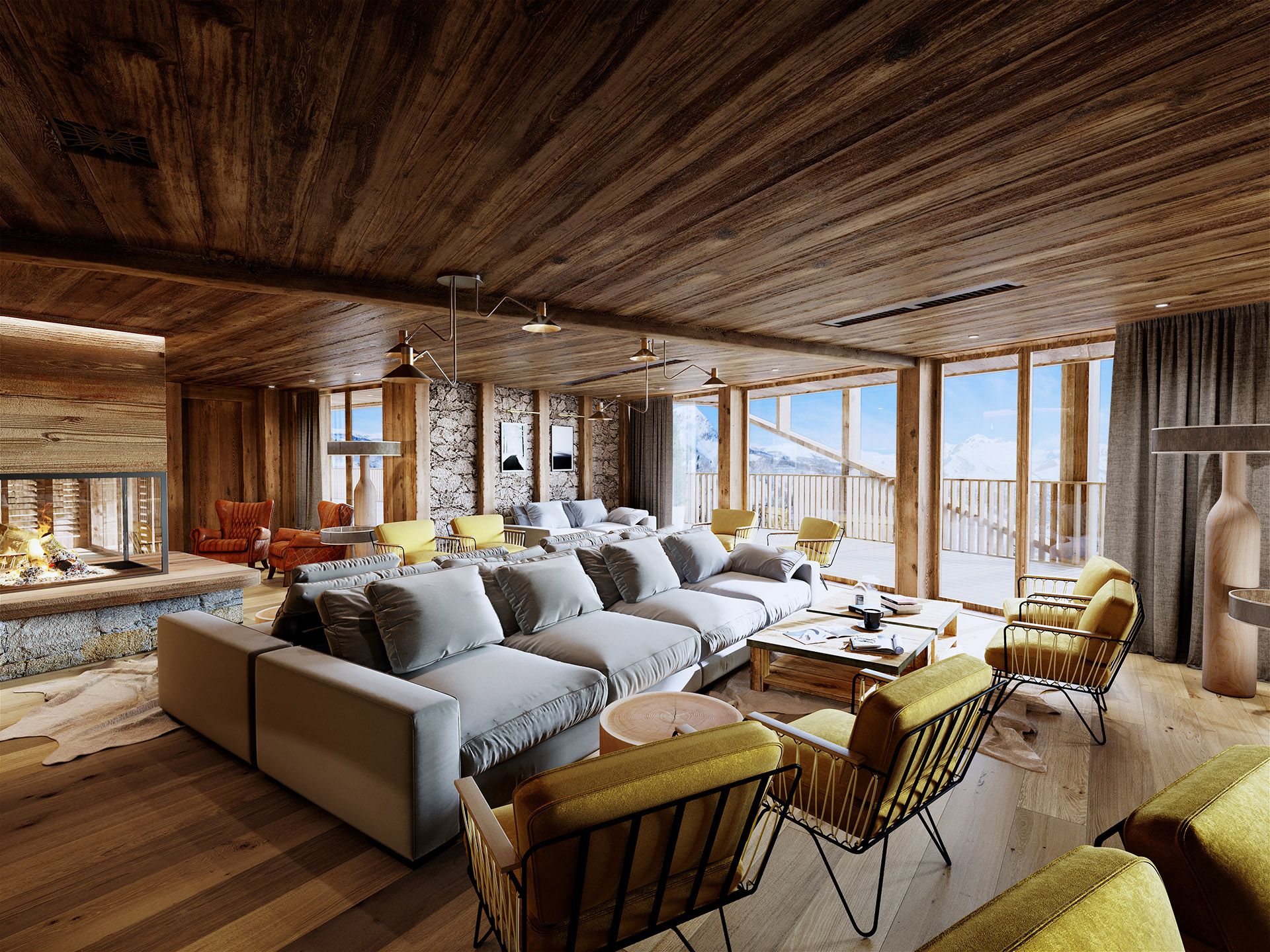3D image of a lounge in a mountain chalet type hotel