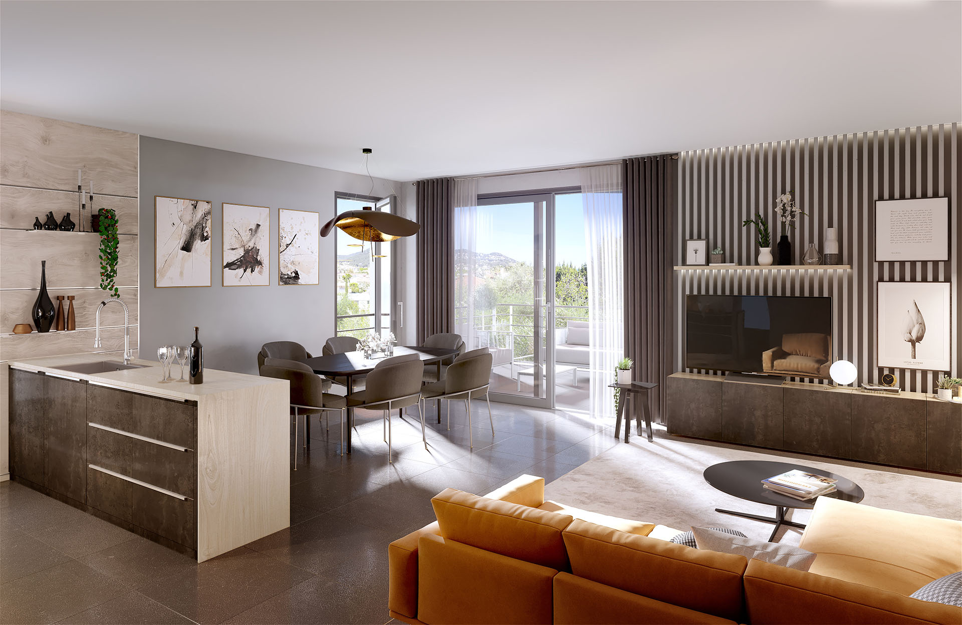 Living room of modern apartment realized in 3D