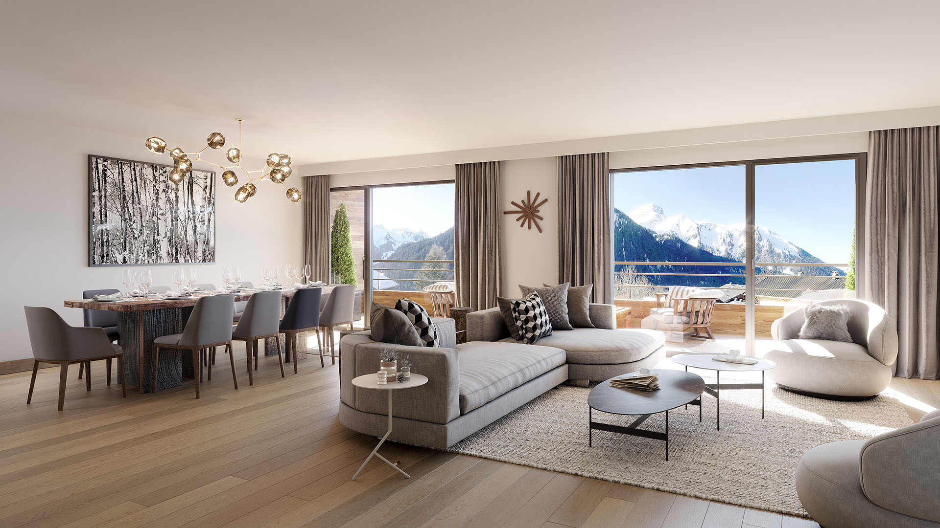 3D representation of a modern living room in the mountains