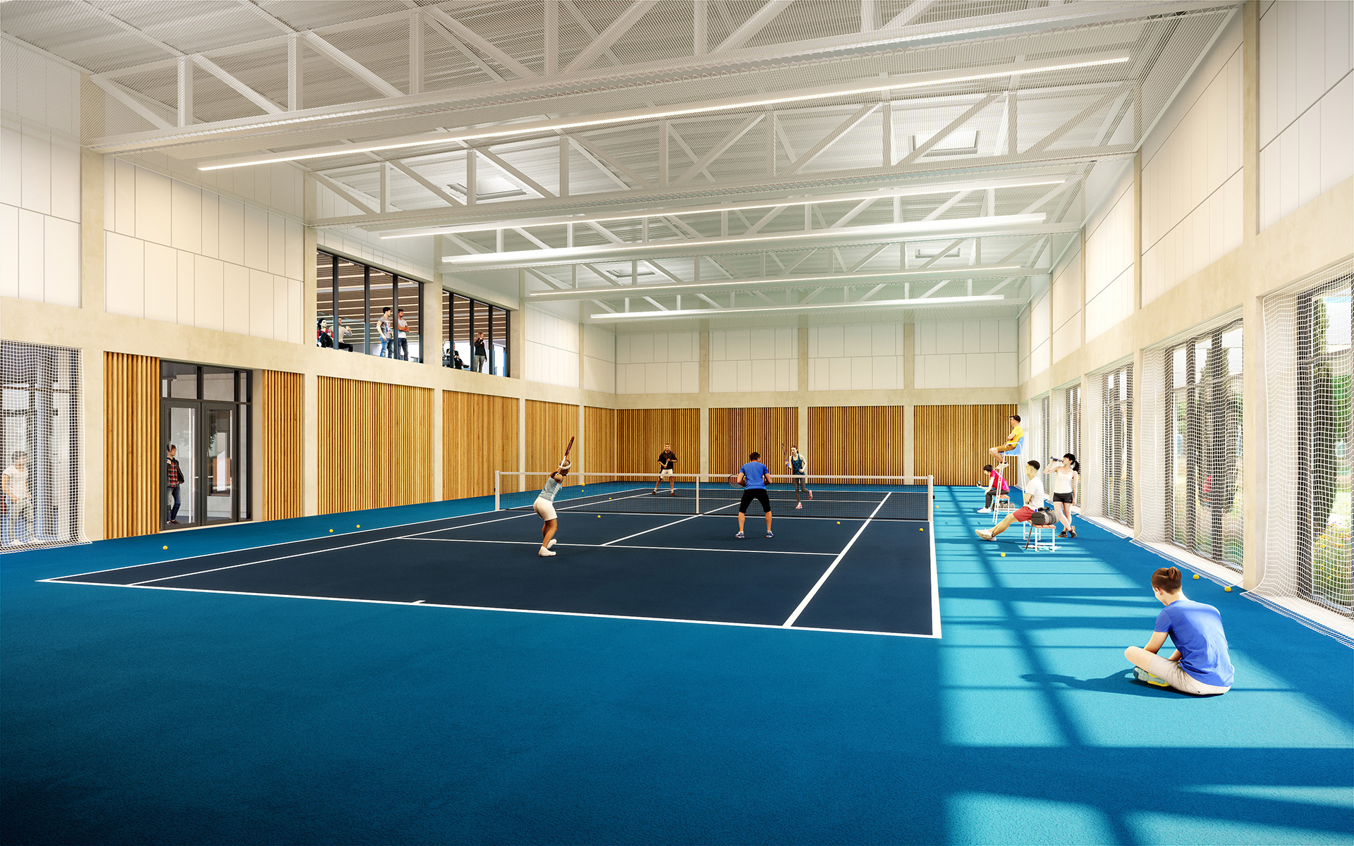 3D representation of an indoor tennis court