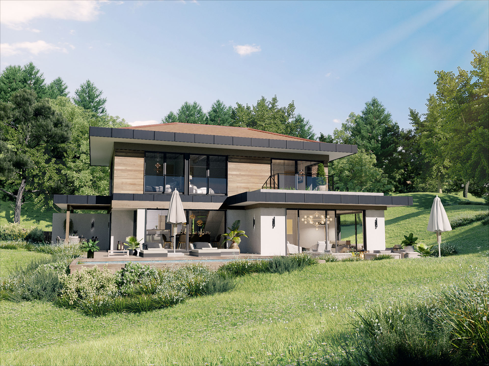 3D perspective of a luxurious villa in the countryside with swimming pool