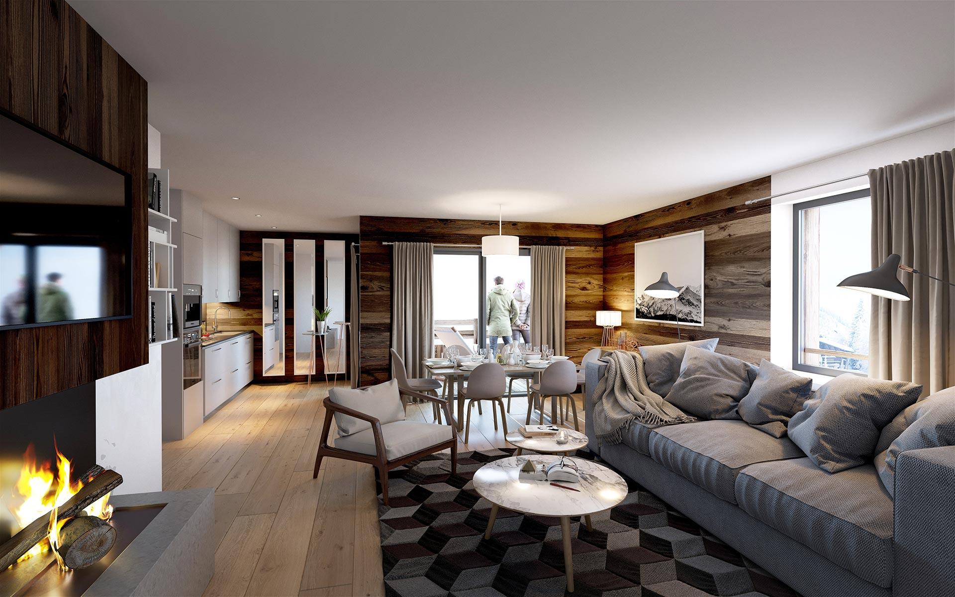 3D visualization of a highend apartment in Chamonix