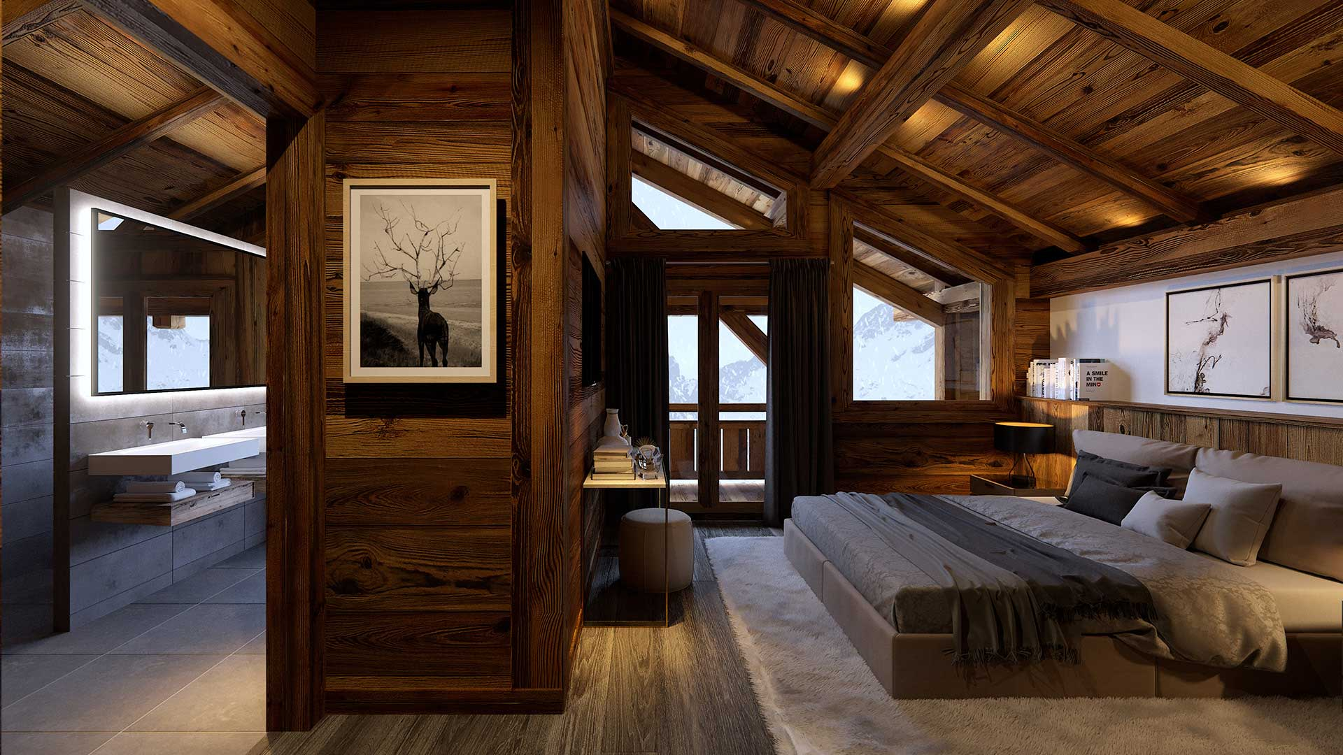 Rendering of a 3D perspective of a room of a luxurious chalet in the mountains.