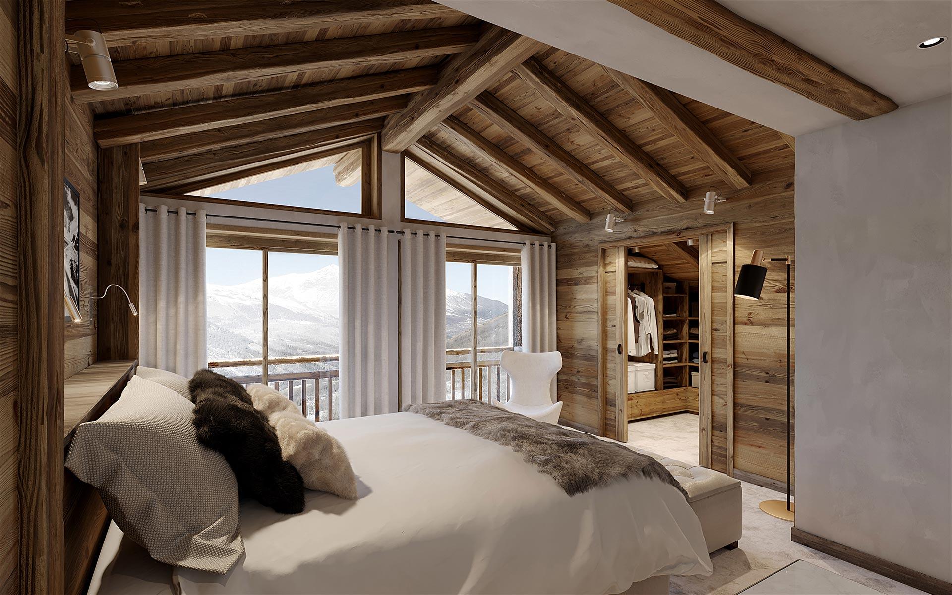 3D Render of a bedroom in a luxury Chalet in Chamonix