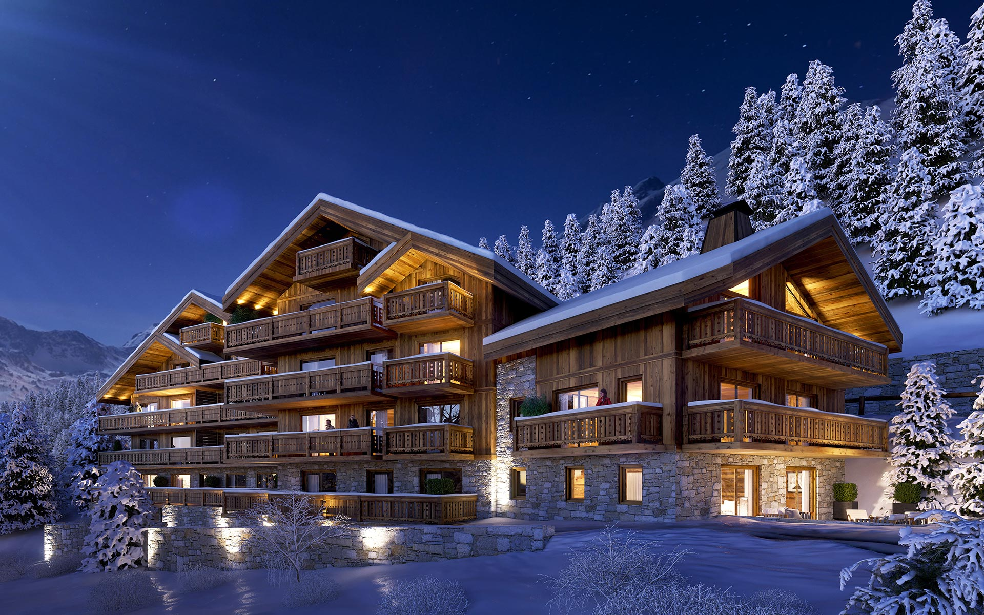 Exterior 3D overview of a mountain chalet blocks project