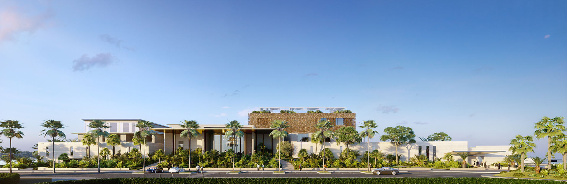 Frontal overview 3D architectural visualization of a palace in Cannes